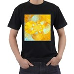 Gold Blue Abstract Blossom Men s T-Shirt (Black) (Two Sided) Front