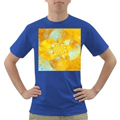 Gold Blue Abstract Blossom Dark T Shirt