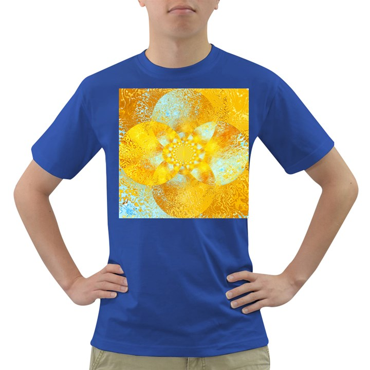 Gold Blue Abstract Blossom Dark T-Shirt