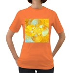 Gold Blue Abstract Blossom Women s Dark T-Shirt Front