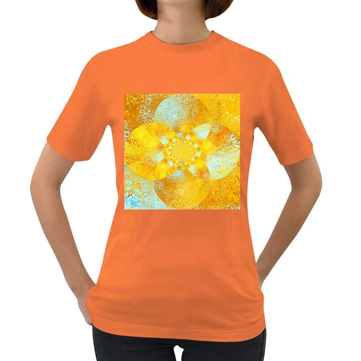 Gold Blue Abstract Blossom Women s Dark T-Shirt
