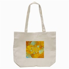 Gold Blue Abstract Blossom Tote Bag (Cream)