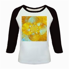 Gold Blue Abstract Blossom Kids Baseball Jerseys