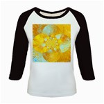 Gold Blue Abstract Blossom Kids Baseball Jerseys Front