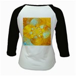 Gold Blue Abstract Blossom Kids Baseball Jerseys Back
