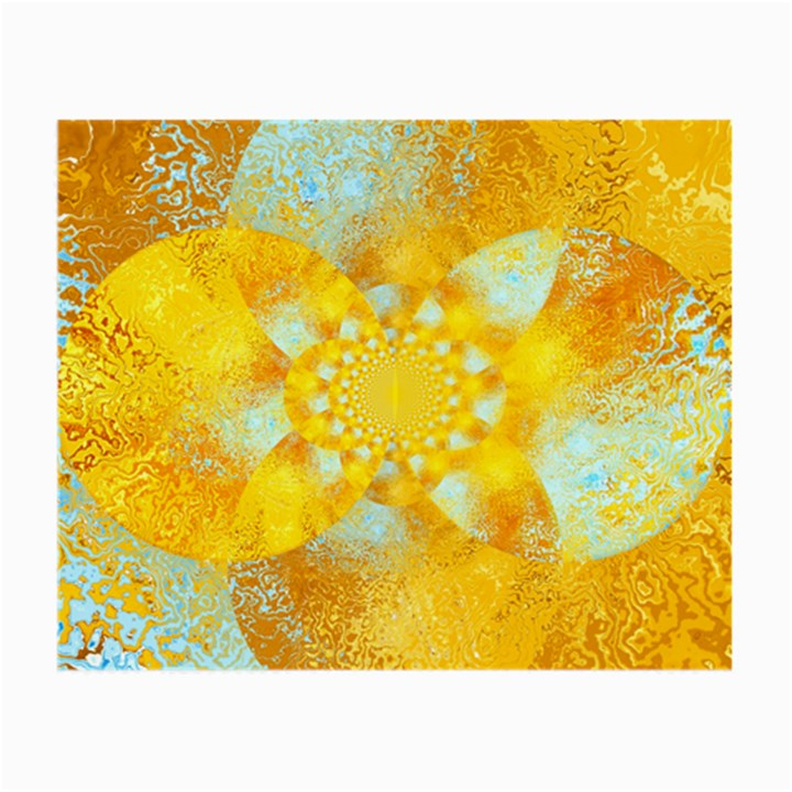 Gold Blue Abstract Blossom Small Glasses Cloth
