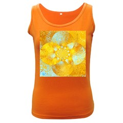 Gold Blue Abstract Blossom Women s Dark Tank Top