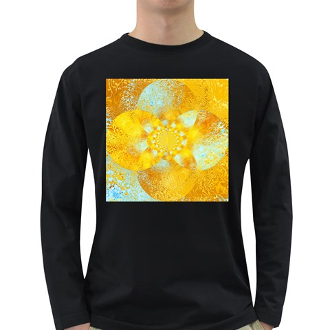 Gold Blue Abstract Blossom Long Sleeve Dark T-Shirts