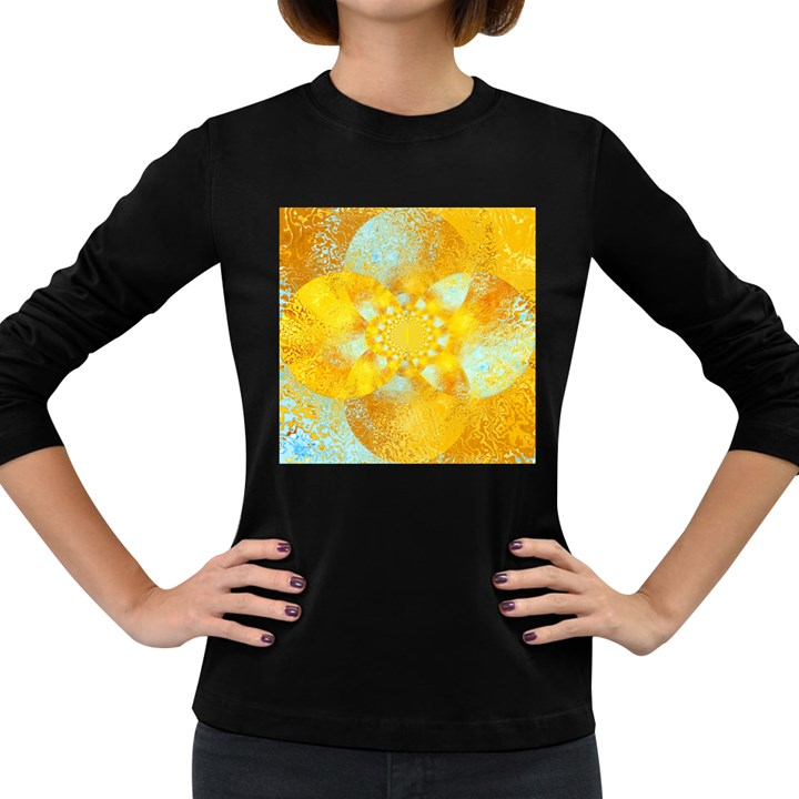 Gold Blue Abstract Blossom Women s Long Sleeve Dark T-Shirts