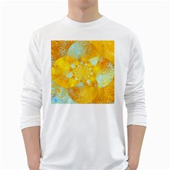 Gold Blue Abstract Blossom White Long Sleeve T Shirts