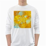 Gold Blue Abstract Blossom White Long Sleeve T-Shirts Front
