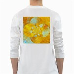 Gold Blue Abstract Blossom White Long Sleeve T-Shirts Back