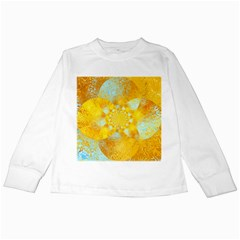 Gold Blue Abstract Blossom Kids Long Sleeve T Shirts