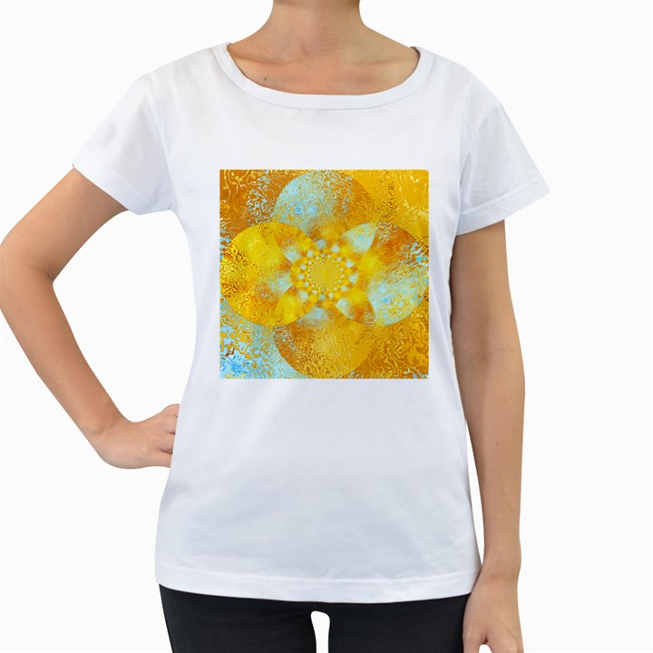 Gold Blue Abstract Blossom Women s Loose-Fit T-Shirt (White)