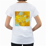 Gold Blue Abstract Blossom Women s Loose-Fit T-Shirt (White) Back