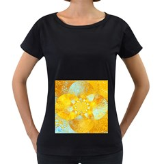 Gold Blue Abstract Blossom Women s Loose-Fit T-Shirt (Black)