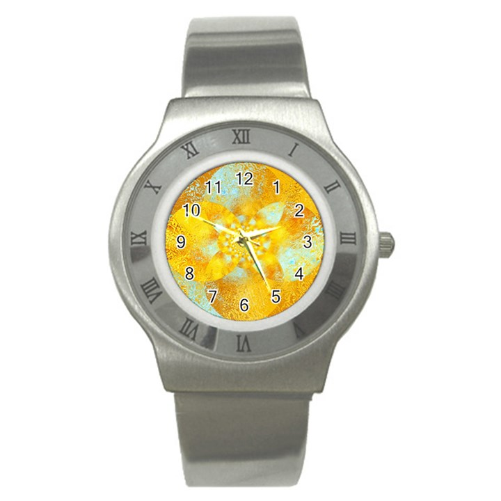 Gold Blue Abstract Blossom Stainless Steel Watch