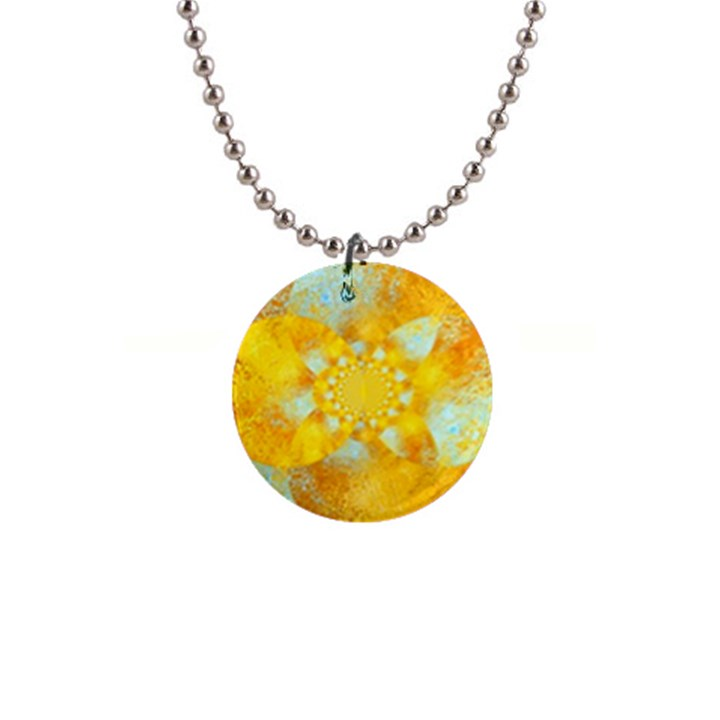 Gold Blue Abstract Blossom Button Necklaces
