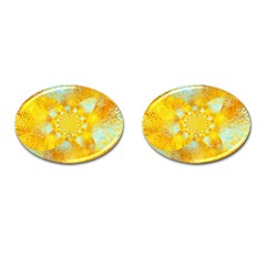 Gold Blue Abstract Blossom Cufflinks (oval)