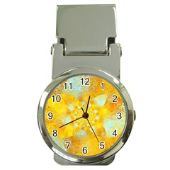 Gold Blue Abstract Blossom Money Clip Watches
