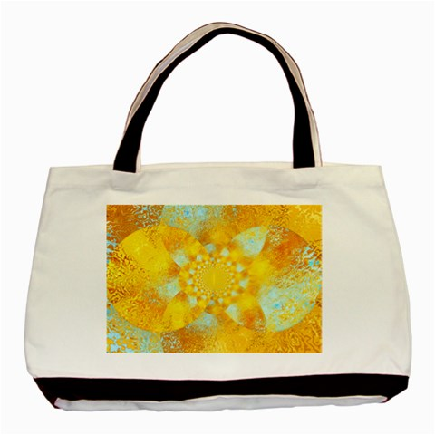 Gold Blue Abstract Blossom Basic Tote Bag