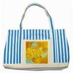 Gold Blue Abstract Blossom Striped Blue Tote Bag Front