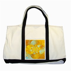 Gold Blue Abstract Blossom Two Tone Tote Bag