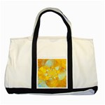 Gold Blue Abstract Blossom Two Tone Tote Bag Front