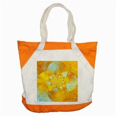 Gold Blue Abstract Blossom Accent Tote Bag