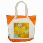 Gold Blue Abstract Blossom Accent Tote Bag Front