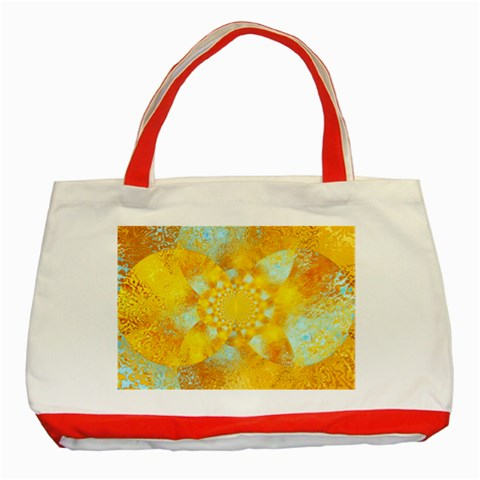 Gold Blue Abstract Blossom Classic Tote Bag (Red)