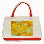 Gold Blue Abstract Blossom Classic Tote Bag (Red) Front
