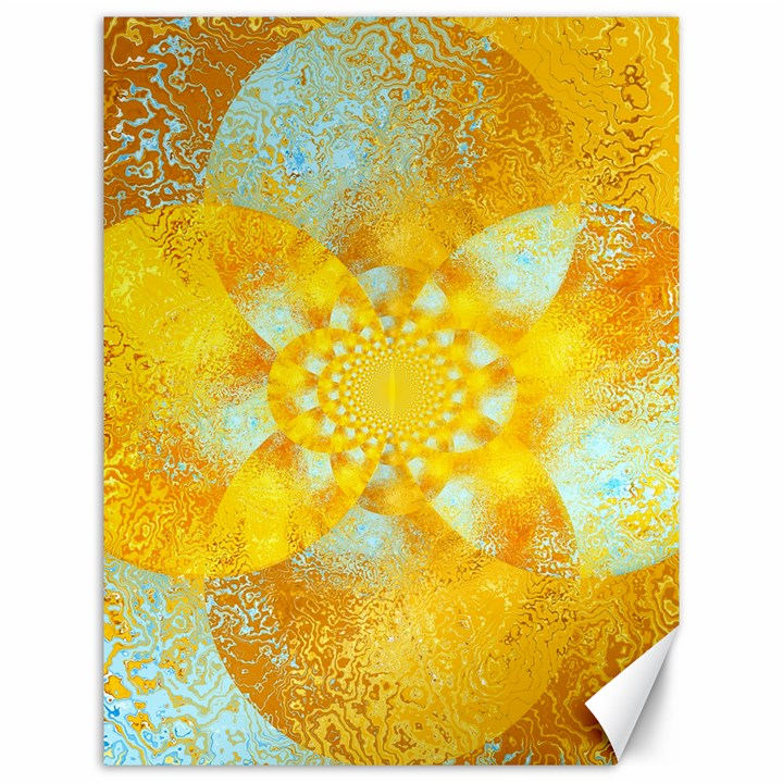 Gold Blue Abstract Blossom Canvas 12  x 16