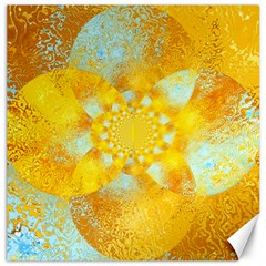 Gold Blue Abstract Blossom Canvas 16  x 16