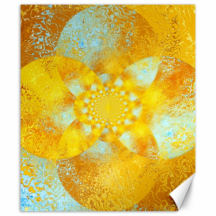 Gold Blue Abstract Blossom Canvas 20  x 24