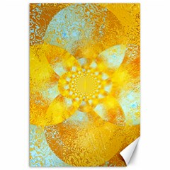 Gold Blue Abstract Blossom Canvas 20  x 30