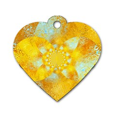 Gold Blue Abstract Blossom Dog Tag Heart (Two Sides)