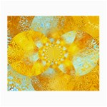 Gold Blue Abstract Blossom Small Glasses Cloth (2-Side) Back