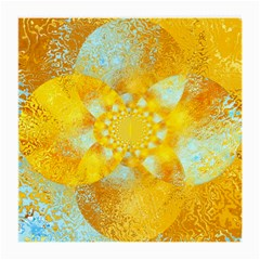 Gold Blue Abstract Blossom Medium Glasses Cloth
