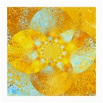 Gold Blue Abstract Blossom Medium Glasses Cloth Front