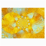 Gold Blue Abstract Blossom Large Glasses Cloth Front