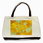 Gold Blue Abstract Blossom Basic Tote Bag (Two Sides) Front