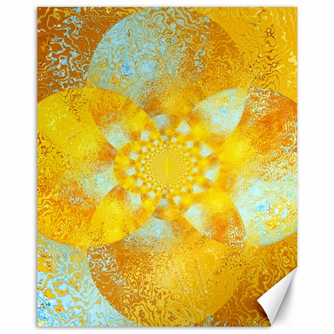 Gold Blue Abstract Blossom Canvas 11  x 14