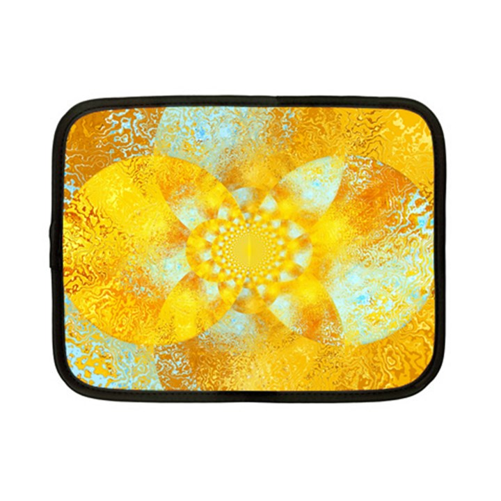 Gold Blue Abstract Blossom Netbook Case (Small)