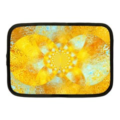 Gold Blue Abstract Blossom Netbook Case (medium)