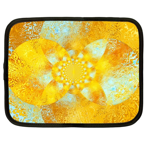 Gold Blue Abstract Blossom Netbook Case (Large)