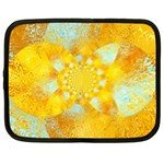 Gold Blue Abstract Blossom Netbook Case (Large) Front