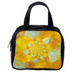 Gold Blue Abstract Blossom Classic Handbags (One Side) Front
