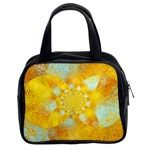 Gold Blue Abstract Blossom Classic Handbags (2 Sides) Front