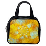 Gold Blue Abstract Blossom Classic Handbags (2 Sides) Back